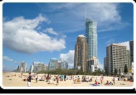 Gold Coast city skyline on the beach in Queensland Australia